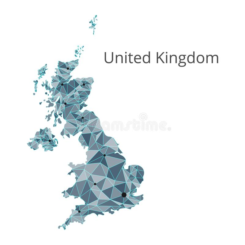 United Kingdom communication network map. Vector low poly image of a global map. With lights in the form of cities or population density consisting of points royalty free illustration
