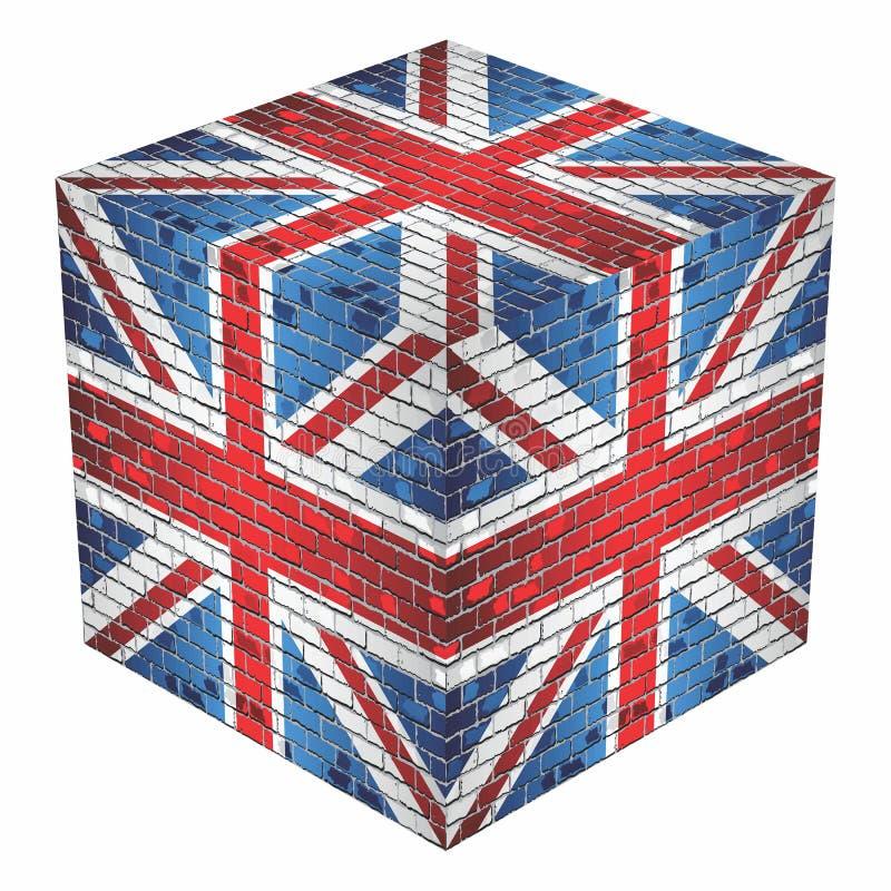 United Kingdom Cube in made of bricks. Illustration vector illustration