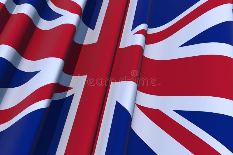 United Kingdom 3D Flag. United Kingdom 3D Wavy Flag Illustration. 3D Render Graphic stock illustration