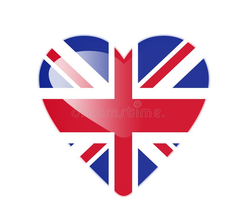 United Kingdom 3D heart shaped flag royalty free illustration