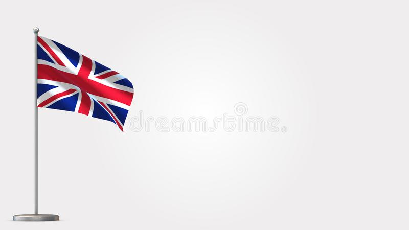 United Kingdom 3D waving flag illustration on flagpole. vector illustration