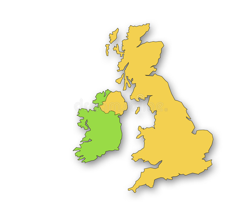 United Kingdom and Eire. Outline map of the United Kingdom and Eire. Drop shadow on white background royalty free illustration
