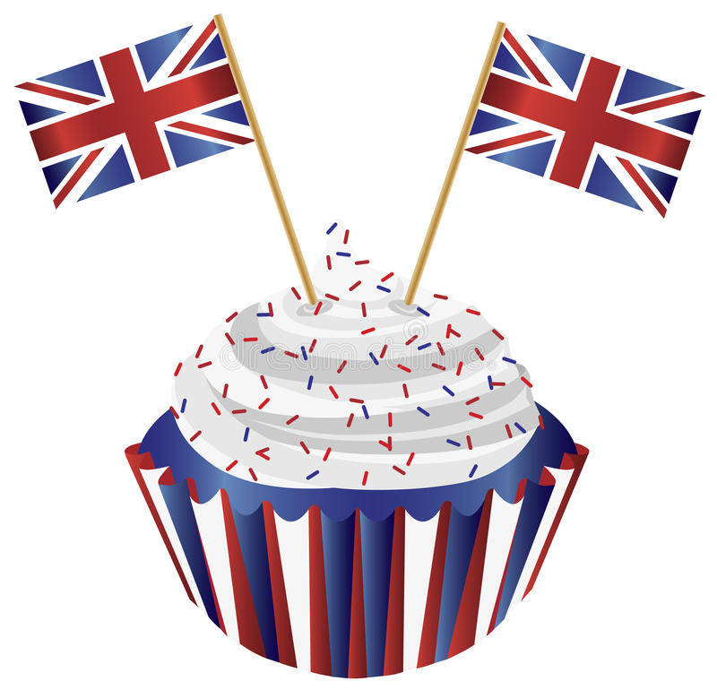 United Kingdom England Cupcake with Flags. United Kingdom England Cupcake with Jack Union Flags Illustration vector illustration