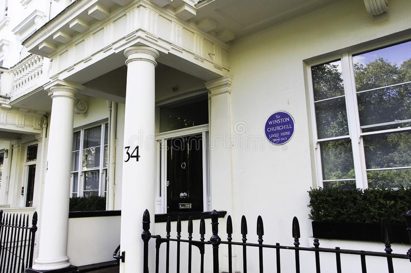 United Kingdom, England, London - 2016 October 05: This Winston Churchill Plaque remembers this house where Churchill lived. United Kingdom, England, London royalty free stock image