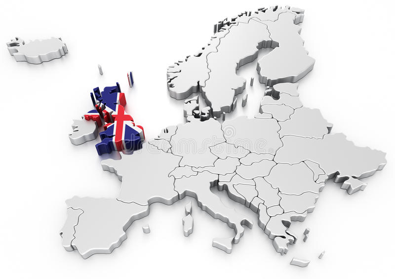 United Kingdom on a Euro map. 3d rendering of a map of Europe with United kingdom selected stock illustration