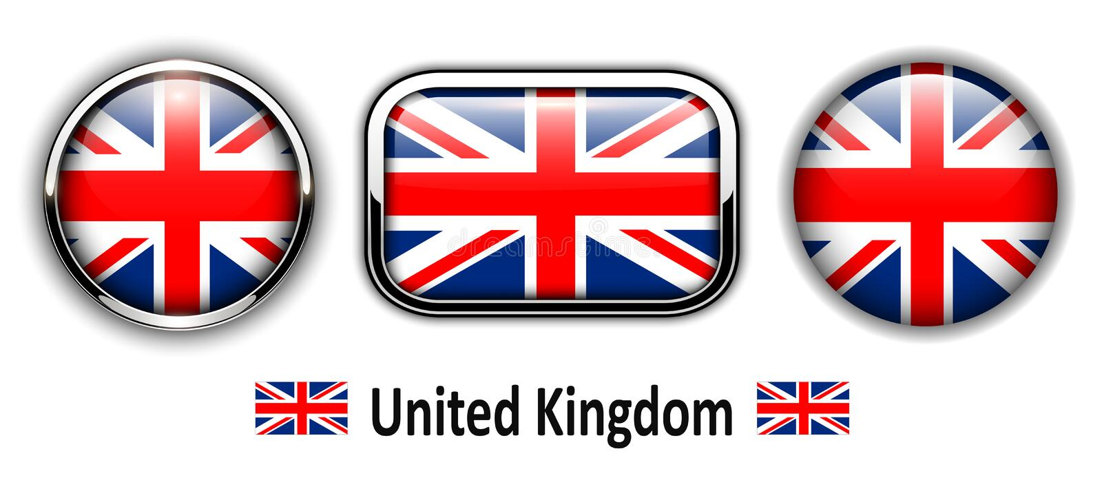 United Kingdom flag buttons. 3d shiny vector icons stock illustration