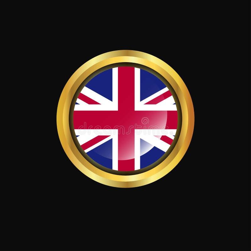 United Kingdom flag Golden button royalty free illustration