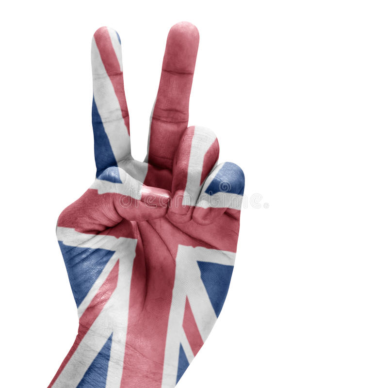 United Kingdom Flag On Hand. royalty free stock photography
