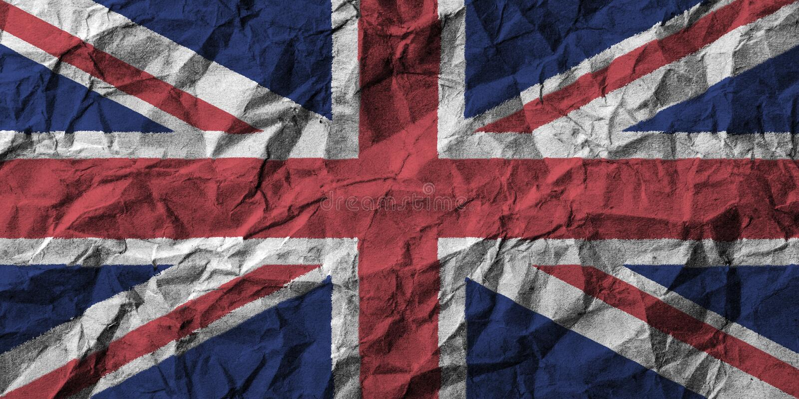 United kingdom flag with high detail of crumpled paper . 3D illustration stock illustration