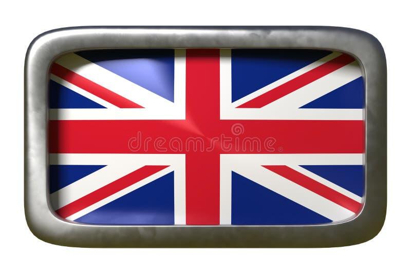 United Kingdom flag sign. 3d rendering of an United Kingdom flag on a rusty sign isolated on white background royalty free illustration