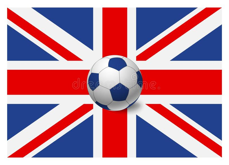 United Kingdom flag and soccer ball. National football background. Soccer ball with flag of United Kingdom vector illustration royalty free illustration