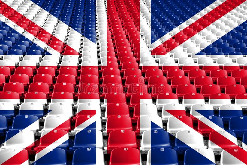 United Kingdom flag stadium seats. Sports competition concept. United Kingdom flag stadium seats. Sports competition concept stock photo