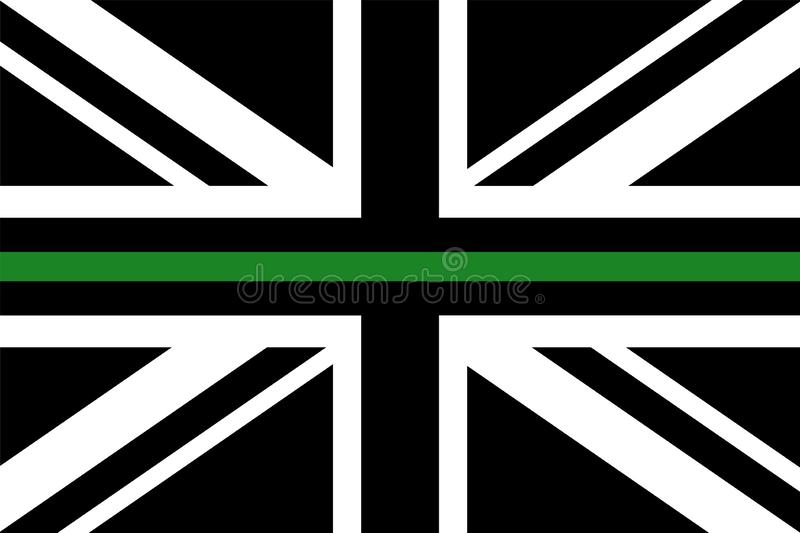 United Kingdom flag with a thin green line royalty free illustration