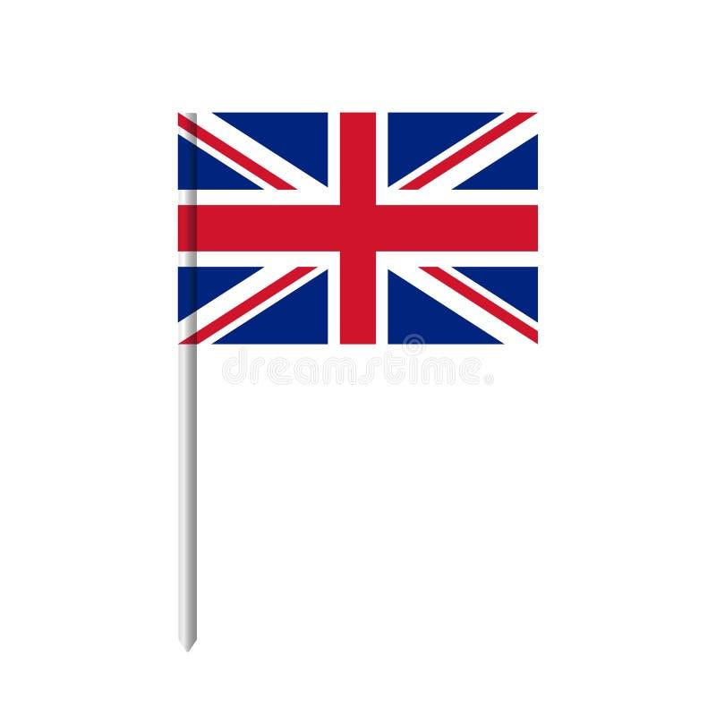 United KIngdom flag toothpick icon. United Kingdom flag with pole isolated. On white background. Vector stock royalty free illustration