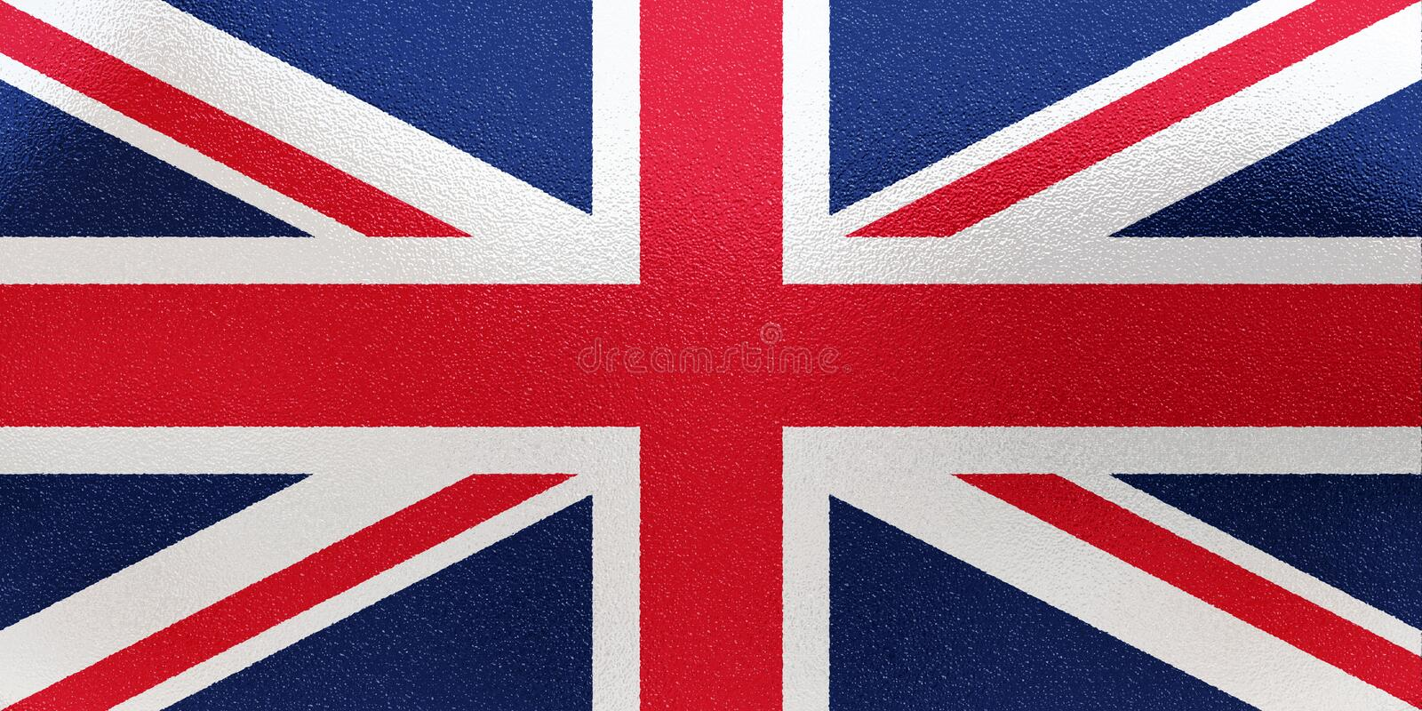 United Kingdom flag in traditional colors and proportion. Metal texture. 3D rendering stock photos