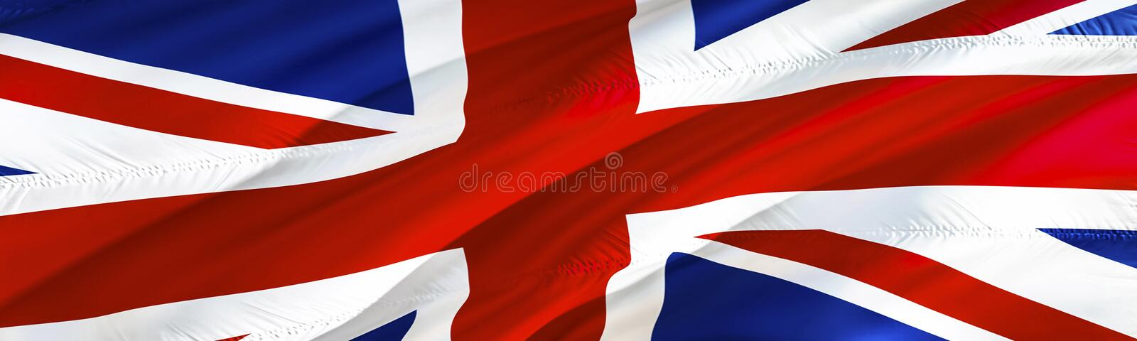 United Kingdom flag. Flag of UK. 3D Waving flag design,3D rendering. The national symbol of UK background wallpaper. 3D ribbon, royalty free illustration