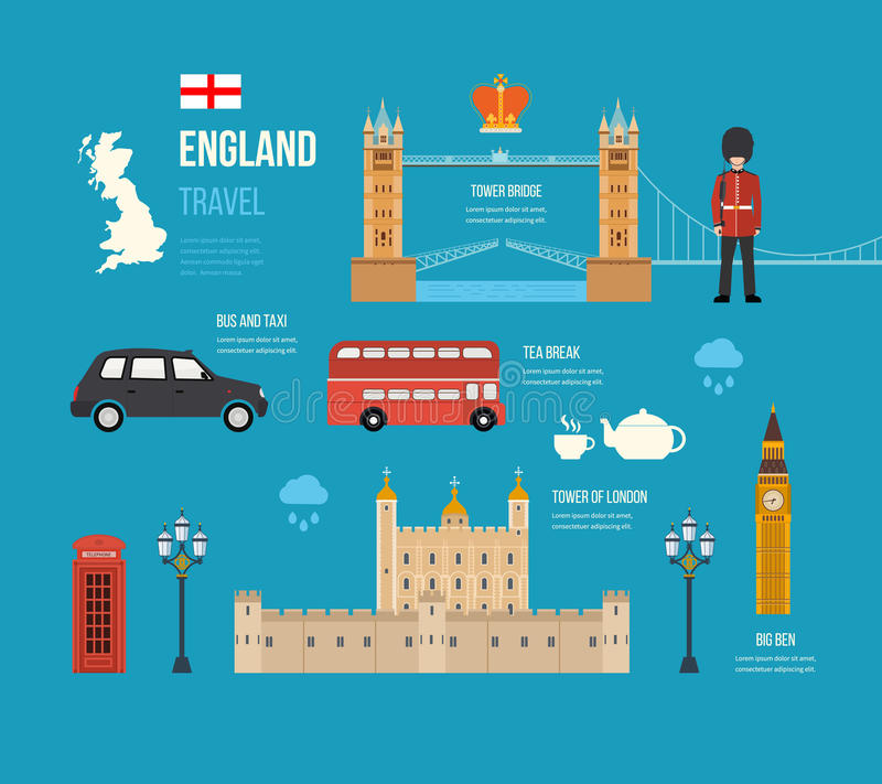 United Kingdom flat icons. London, United Kingdom flat icons design travel concept. London travel. Historical and modern building. Vector illustration stock illustration