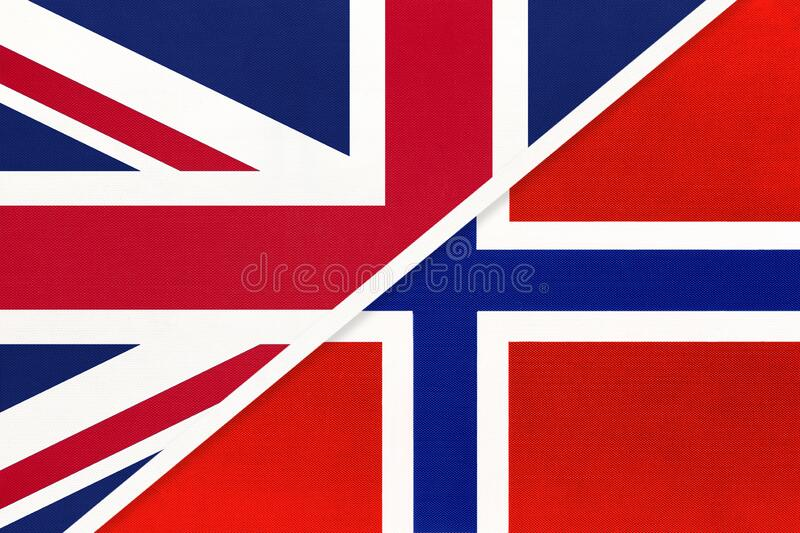 United Kingdom vs Norway national flag from textile. Relationship between two european countries. United Kingdom of Great Britain and Ireland vs Norway national stock images