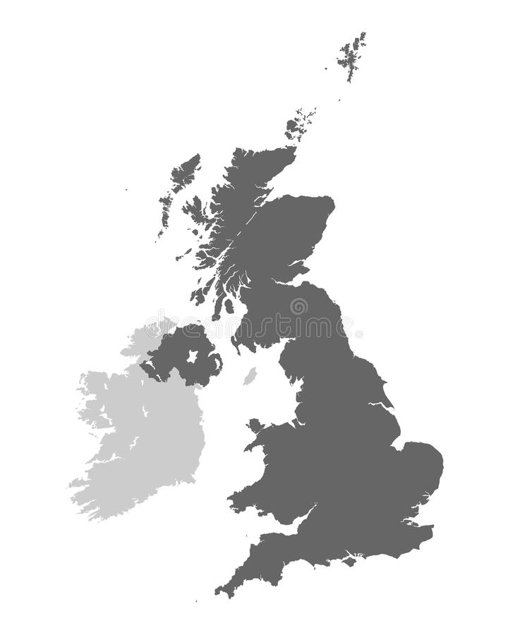 United Kingdom of Great Britain and Northern Ireland contour map royalty free illustration