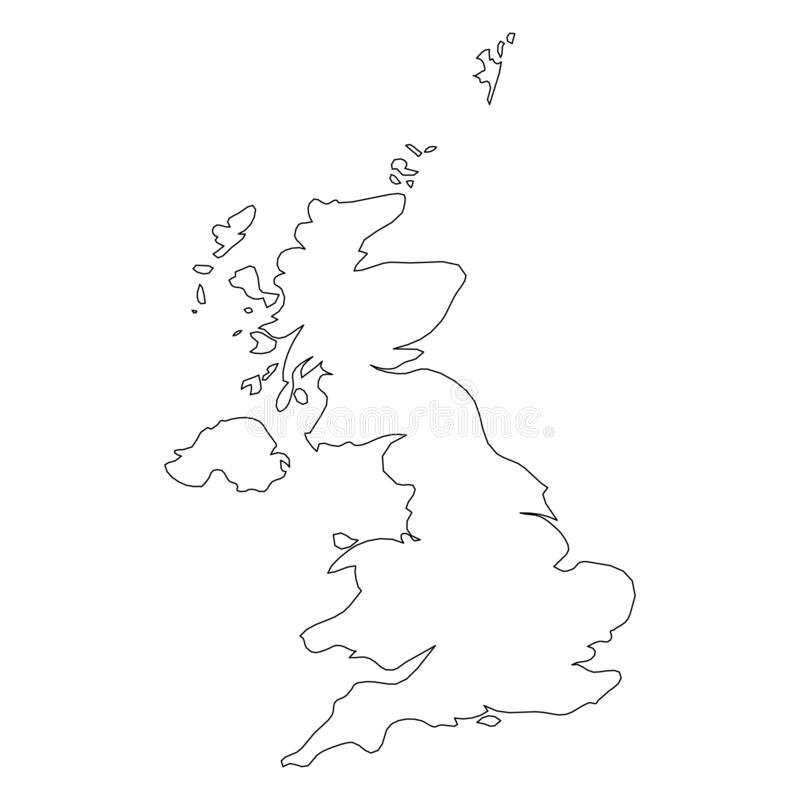 United Kingdom of Great Britain and Northern Ireland, UK - solid black outline border map of country area. Simple flat stock illustration
