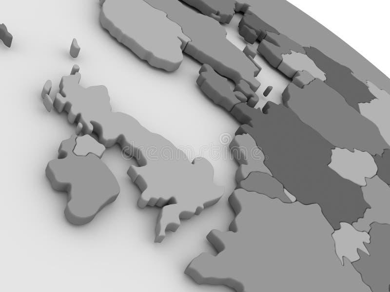 United Kingdom on grey 3D map royalty free illustration