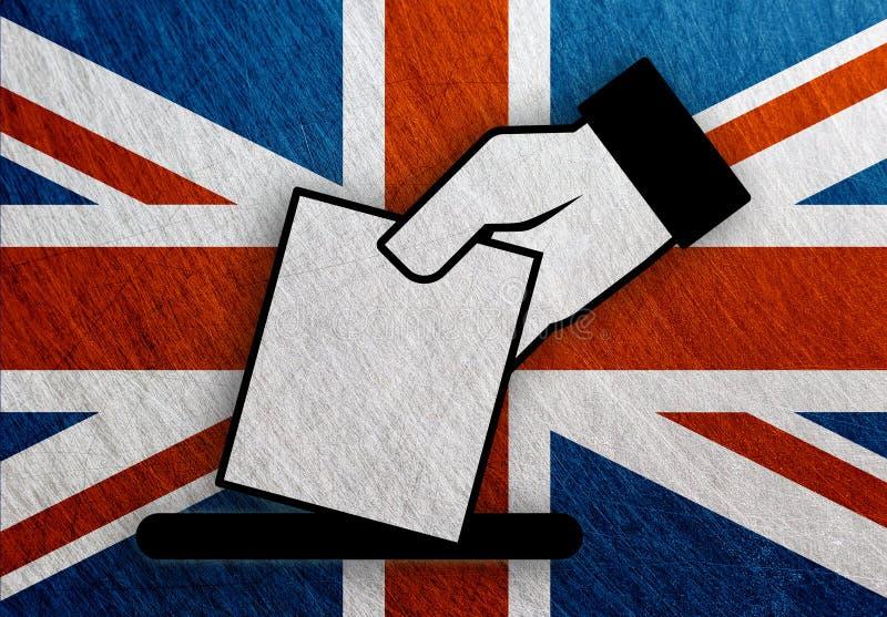 United Kingdom hand vote, referendum flag metal vintage royalty free illustration