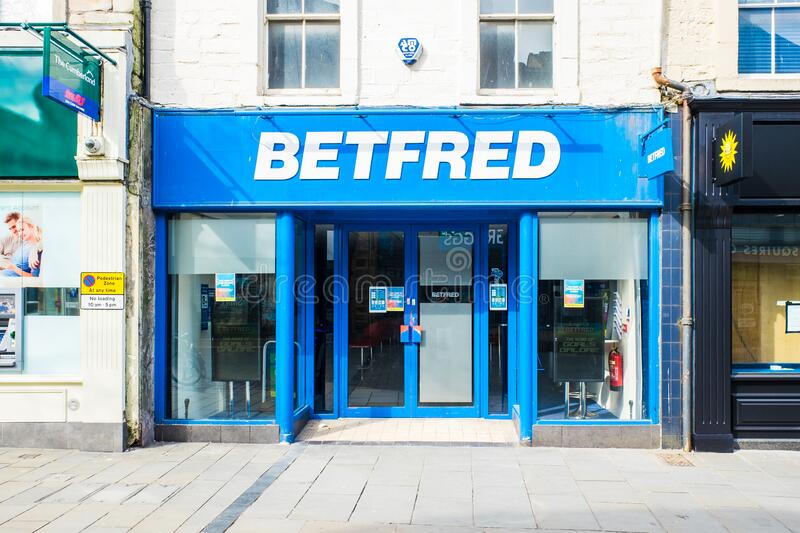 UNITED KINGDOM, LANCASTER - 9TH APRIL 2020 Bet Fred one of its outlets in shopping area. In lockdown royalty free stock photography
