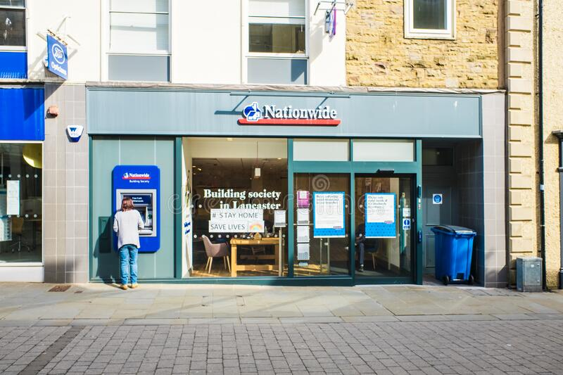 UNITED KINGDOM, LANCASTER - 9TH APRIL 2020 Nationwide. It is the UKs largest mutual building society. UNITED KINGDOM, LANCASTER - 9TH APRIL 2020 A branch of royalty free stock photography