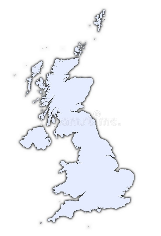United Kingdom Light Blue Map Royalty Free Stock Photo