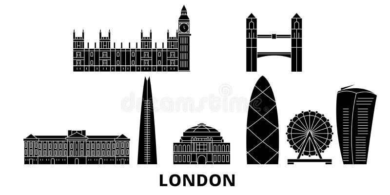 United Kingdom, London flat travel skyline set. United Kingdom, London black city vector illustration, symbol, travel. United Kingdom, London flat travel skyline stock illustration