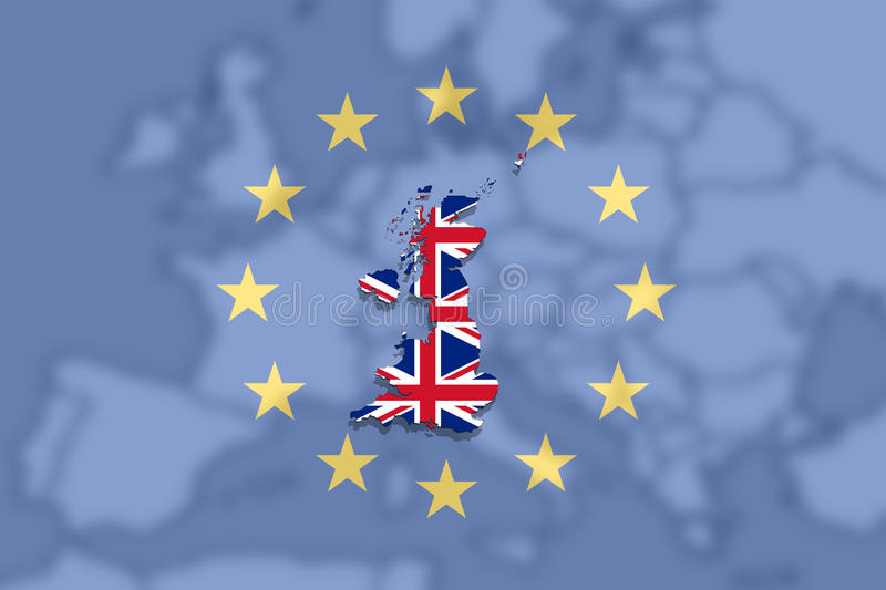 United Kingdom map with flag on Euro Union and Europe background vector illustration