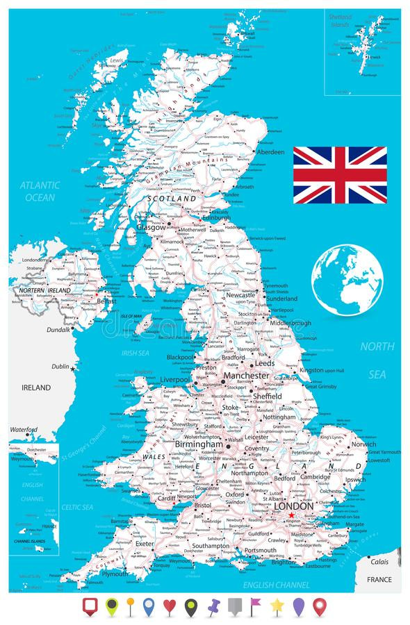 United Kingdom Map and Flat Map Pointers vector illustration