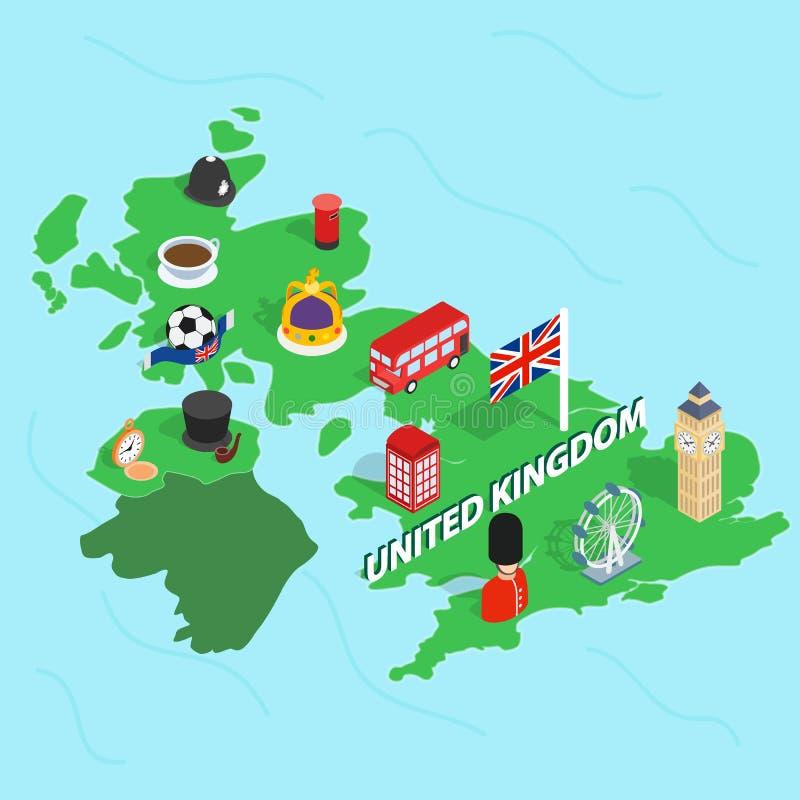 United Kingdom map, isometric 3d style vector illustration