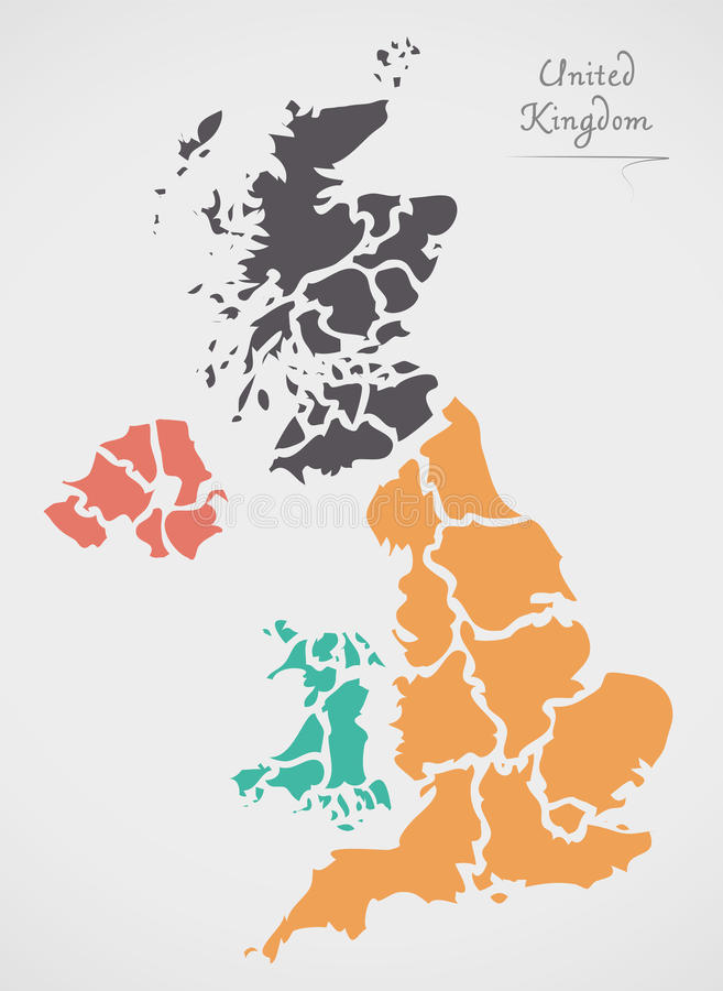 United Kingdom Map with states and modern round shapes. Illustration stock illustration