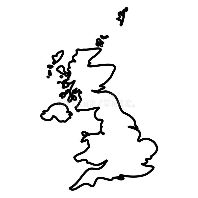 Free United Kingdom Of Great Britain And Northern Ireland, UK - Solid Black Outline Border Map Of Country Area. Simple Flat Royalty Free Stock Photography - 183212767