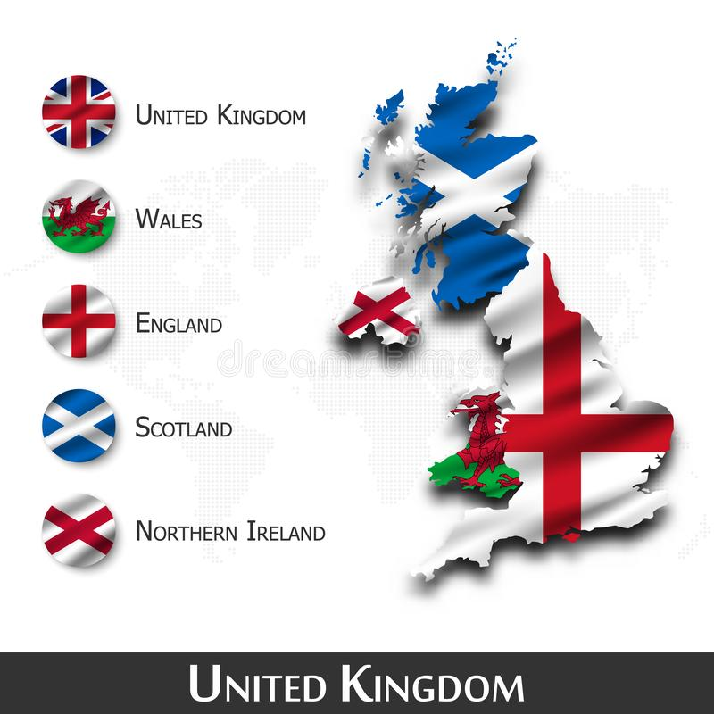 Free United Kingdom Of Great Britain Map And Flag  Scotland . Northern Ireland . Wales . England  . Waving Textile Design . Dot World Stock Photos - 155041363