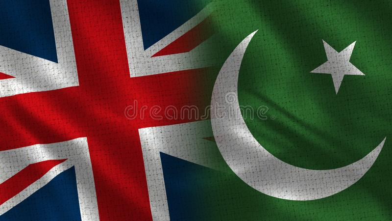 United Kingdom and Pakistan. Two Flag Together - Fabric Texture stock illustration