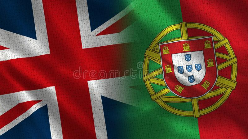 United Kingdom and Portugal. Two Flag Together - Fabric Texture vector illustration