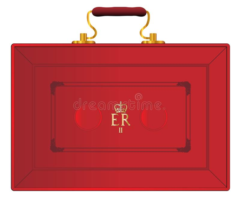 United Kingdom Red Budget Box. The red case as displayed by the UK Chancellor of the Exchequer during a new budget ober a white background vector illustration