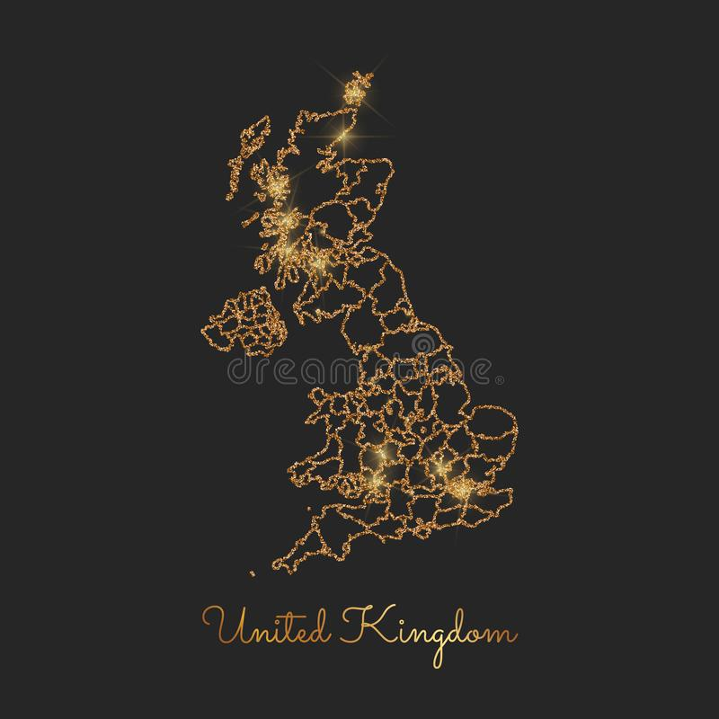United Kingdom region map: golden glitter outline. United Kingdom region map: golden glitter outline with sparkling stars on dark background. Vector stock illustration