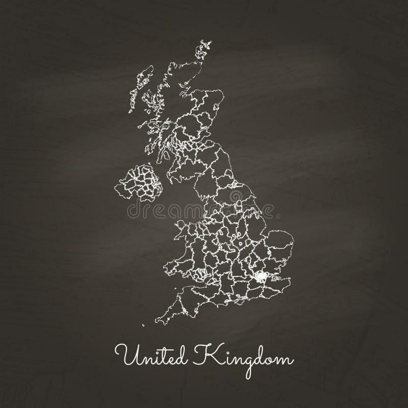 United Kingdom region map: hand drawn with white. United Kingdom region map: hand drawn with white chalk on school blackboard texture. Vector illustration stock illustration