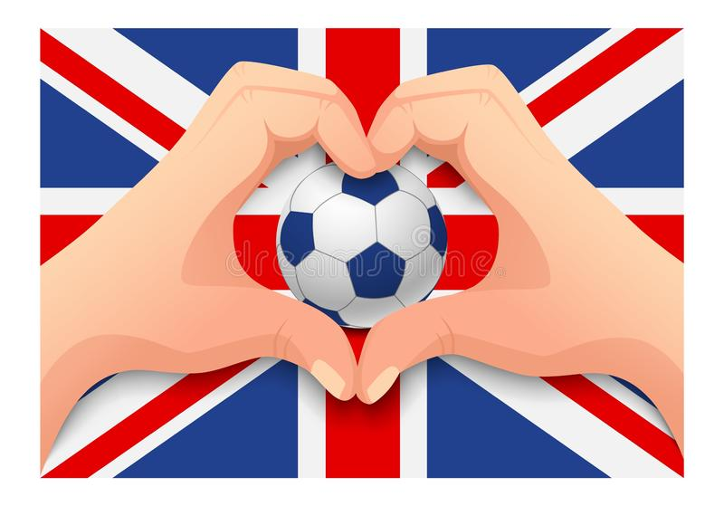 United Kingdom soccer ball and hand heart shape. United Kingdom flag and hand heart shape. National football background. Soccer ball with flag of United Kingdom stock illustration