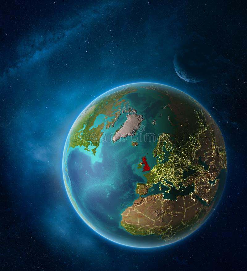 United Kingdom from space on planet Earth stock illustration