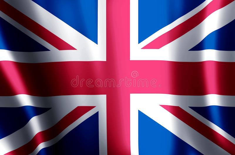 United Kingdom. Stylish waving and closeup flag illustration. Perfect for background or texture purposes stock photos