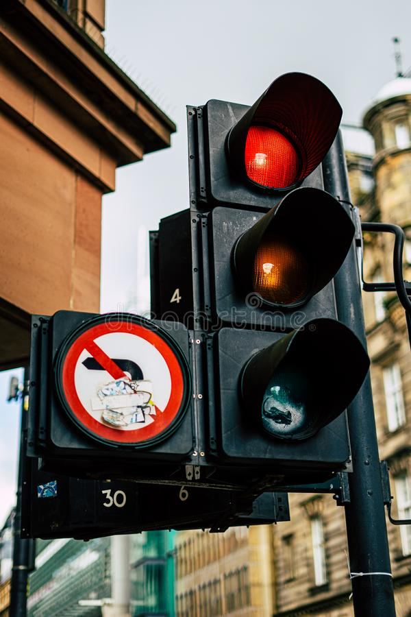 United Kingdom Traffic Lights At Junction. Light shows red colour to stop traffic stock photography