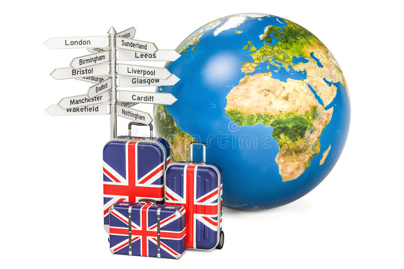 United Kingdom travel concept. Suitcases with British flag, sign vector illustration