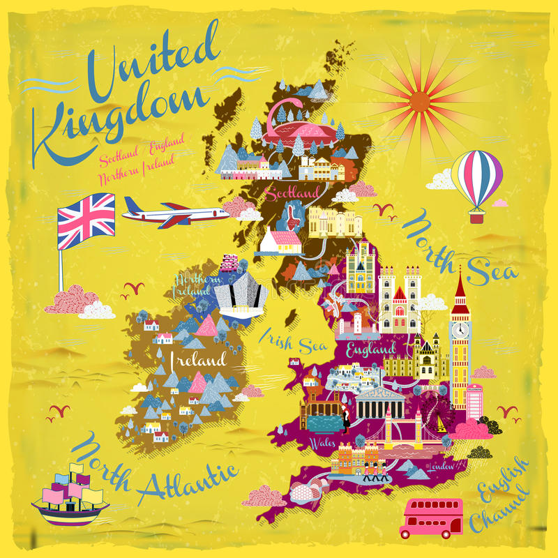 United Kingdom travel map. Attractive United Kingdom travel map with attractions icon vector illustration