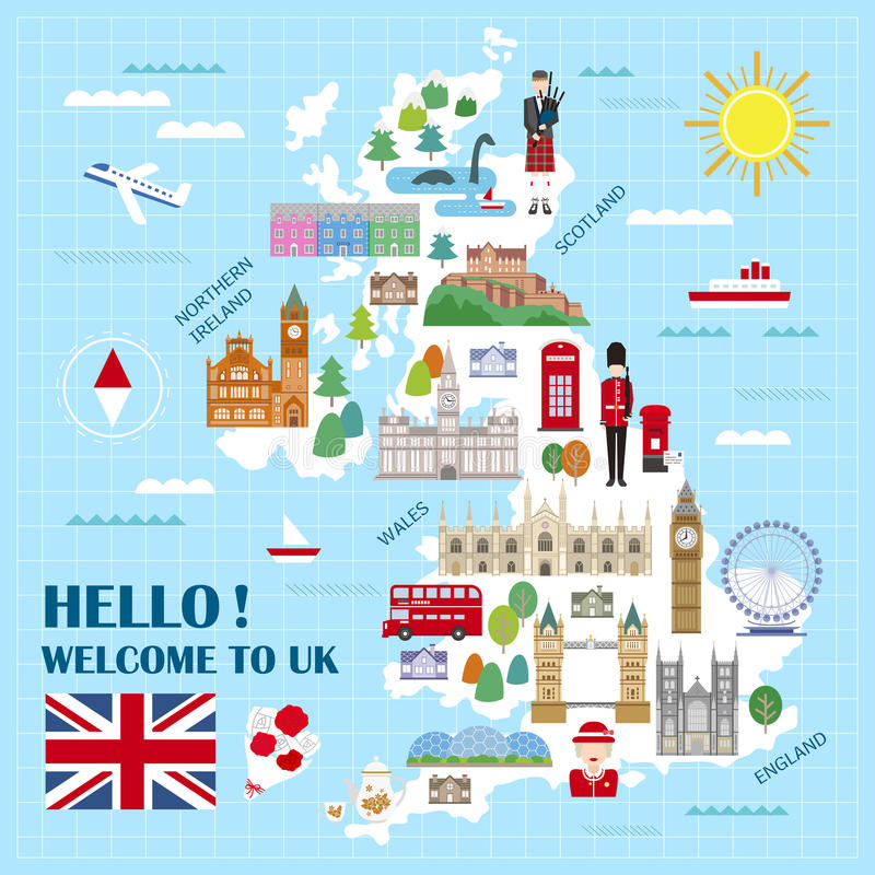 download united kingdom travel map stock vector illustration of london 66984541
