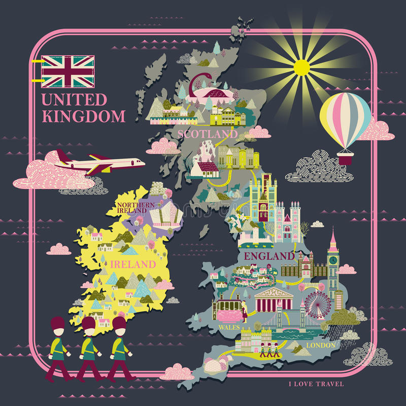 United Kingdom travel map. Lovely United Kingdom travel map with attractions icon royalty free illustration