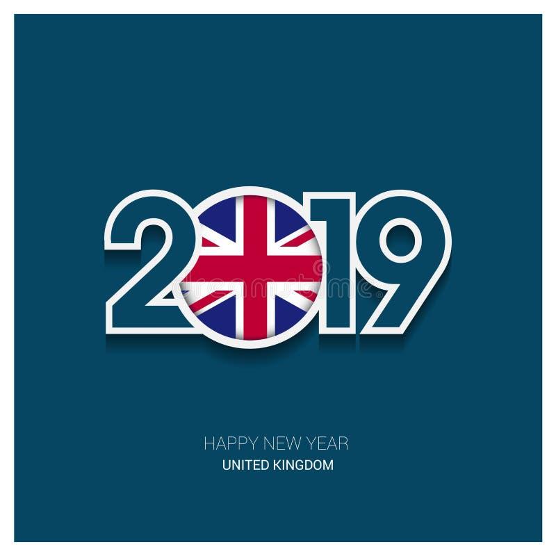 2019 United Kingdom Typography, Happy New Year Background vector illustration